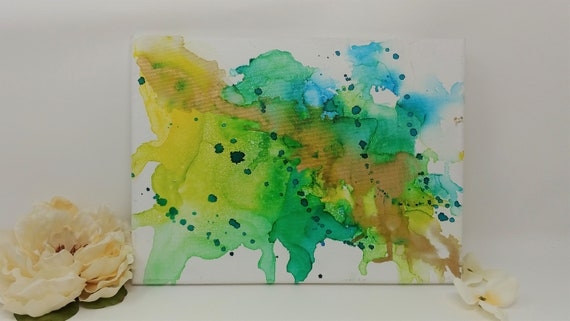 "Original Abstract Ink Painting on 9 x 12 inch Stretched Canvas - ""Splash""- Fluid Art Alcohol Ink with Gold Accent"