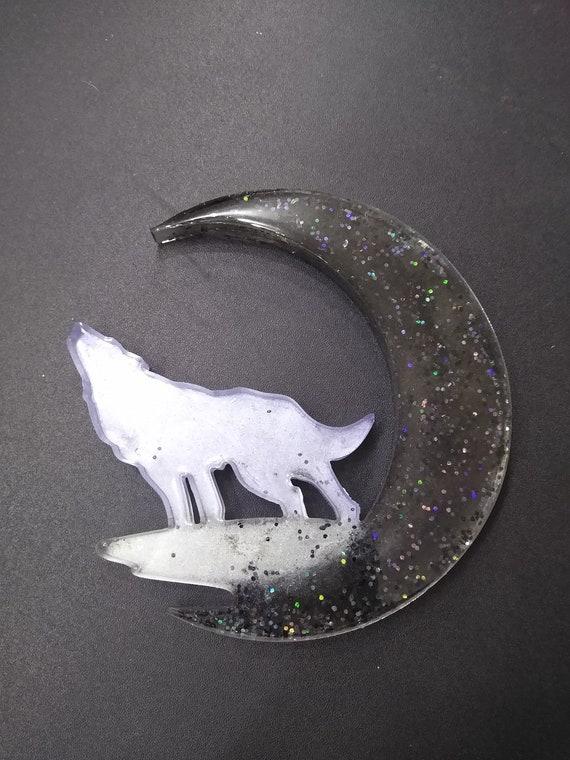 Wolf Moon Resin Window, Desk or Room Ornament or Suncatcher