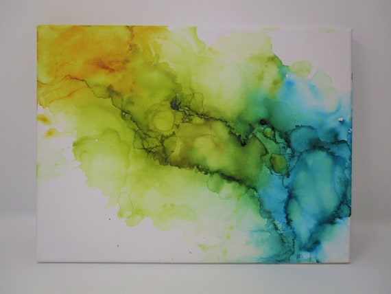 """Blue and yellow abstract ink painting on 9x12"""" canvas - original hand painted"""