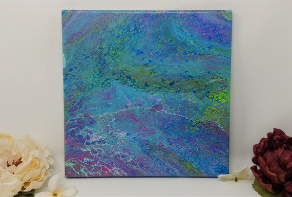 Abstract Acrylic Original Painting on 10x10 inch Stretched Canvas - Fluid Art Acrylic Pouring