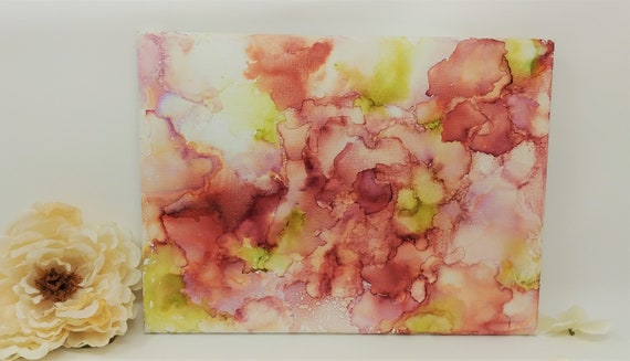 "English Garden beautiful pink and green abstract alcohol ink on 9 x 12"" canvas  - original hand painted"