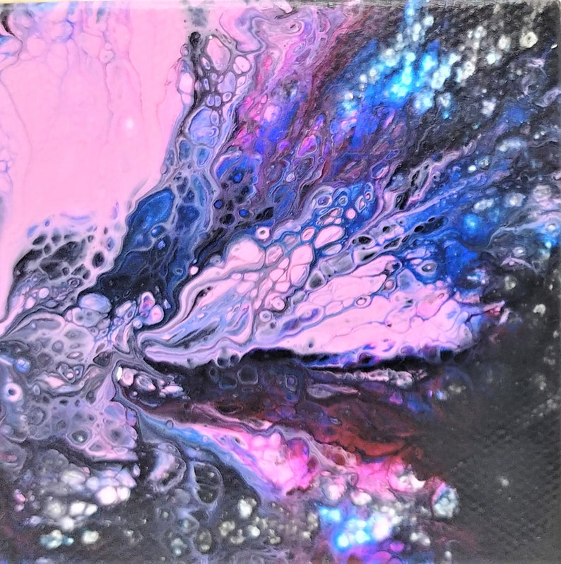 Original Art for Fridge or Lockers Fluid Art Acrylic Pouring Mini Abstract Acrylic Painting on Magnetic Canvas 3x3