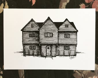 "Witch House, Salem, Massachusetts - 4 x 6"" mini print / fine art postcard - New England History - Dark Art, Illustration"