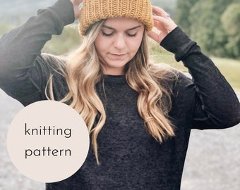 The Lazy Day Beanie Knitting PATTERN / PDF Download
