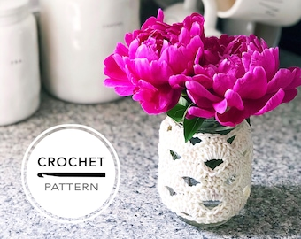 The Sanibel Shells Cozy Crochet PATTERN // PDF Download // Crochet Mason Jar Sleeve // kneedlesandlove