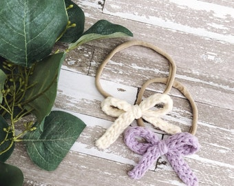Classic Hair Bow Set / Cream and Lavender