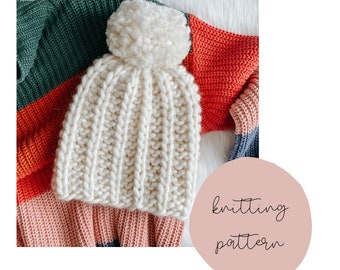 The Extra Bold Coffee Bean Beanie knitting pattern / PDF Download