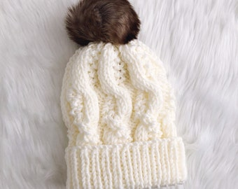 Ivory Pebbled Cable Beanie