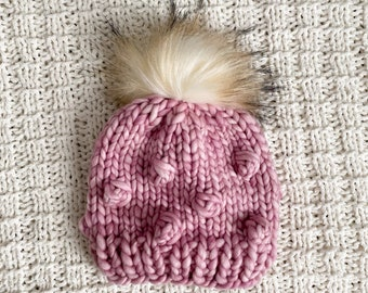 Baby Bobble Beanie - Size 0-12 month