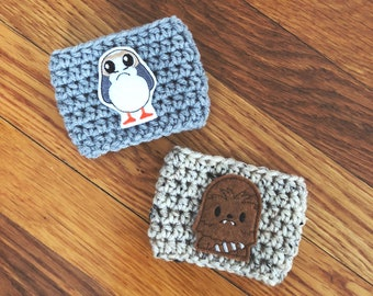Porg and Chewy Cozies // Handmade coffee sleeve // kneedlesandlove
