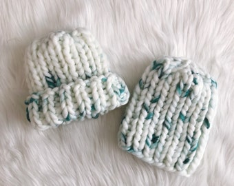 Baby Teal Painted Ribbed Beanie