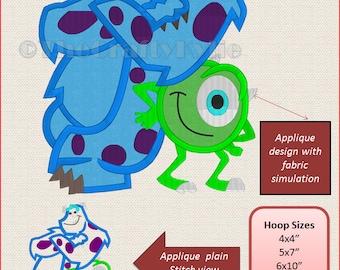Monster Inc Applique Designs 4x4 5x7 6x10 hoop