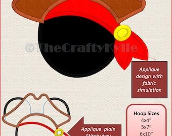 Disney Pirate Mickey Machine Embroidery Applique Designs 4x4 5x7 6x10 hoop
