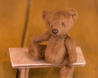 Miniature teddy bear plush 9.5 cm height  Blythe stuffed animal toy dollhouse ooak small teddy bear
