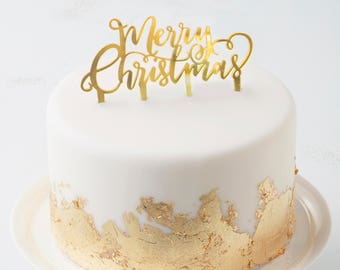 Gold Merry Christmas Cake Topper - Metallic Star-  Christmas Party | Christmas Cake | Christmas Decoration | Merry Christmas Food Decor