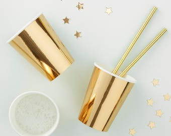 Gold Foiled Paper Cups - 8 Pack - Metallic Star | Party | NYE | New Years Eve | Wedding | Hen Party | Baby Shower | Birthday Party Prosecco