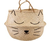 Sleeping Cat Seagrass Basket - Scandi Nordic Hygge Storage Ideas, New Home Decor, Housewarming Gift, Baby Shower Gift, Laundry, Cat Lover