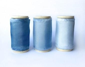 HABOTAI SILK- Handdyed Cobalt Blue Silk Ribbon