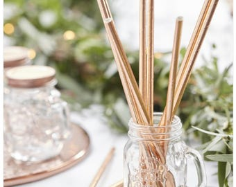 Rose Gold Paper Straws - Party, Wedding, Hen Party - Pack of 25 Straws