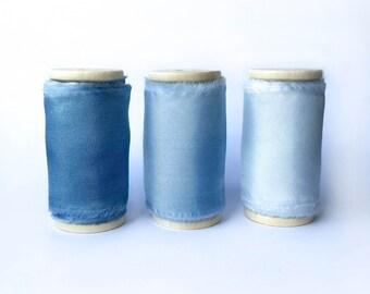 MOUSELINE Silk - Handdyed Cobalt Blue Silk Ribbon