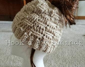 728e75818b6 Basket weave messy bun   ponytail hat
