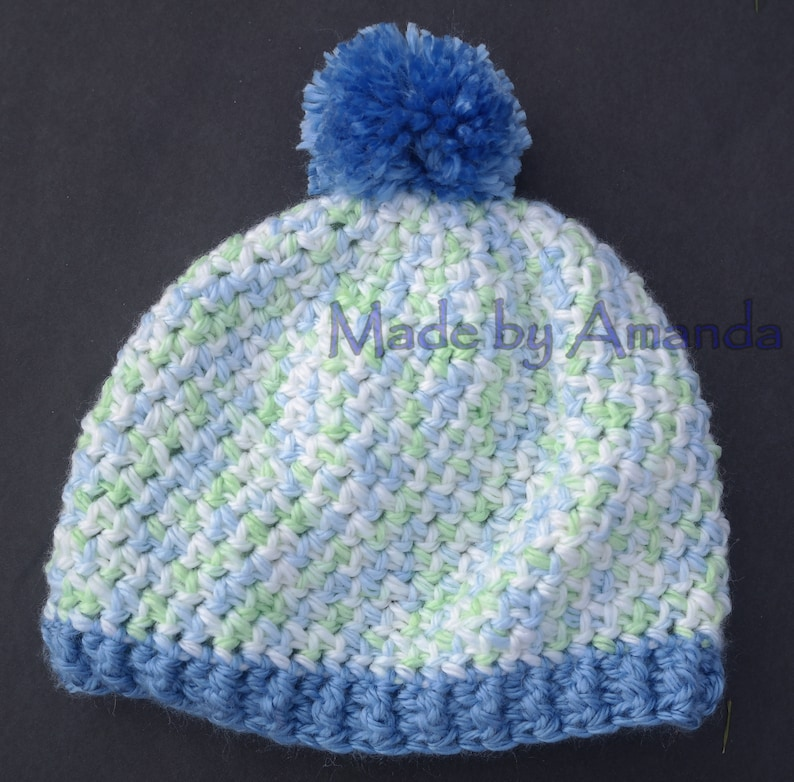 ccc175a80e2 Child Blue Hat with Pom Pom Blue Green Beanie Winter Hat