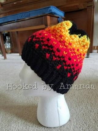 On Fire crochet beanie  hat