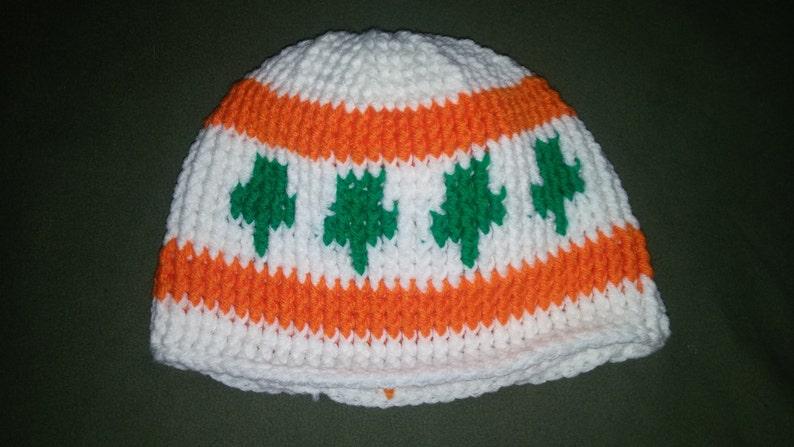 Southside Irish Chicago Flag inspired Crochet Beanie Hat
