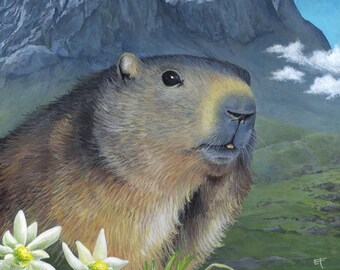 Original painting: Alpine Marmot