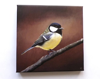 reproduction on canvas 20x20cm paint great tit