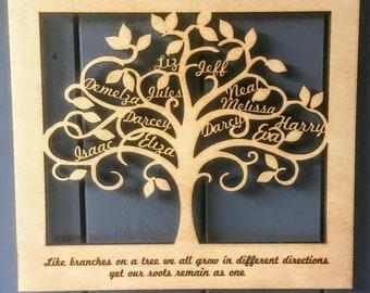 Wooden Family Tree Etsy