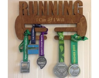Wall mounted Running Medal Holder - Marathon Sprinter Runner Gift Medal Award Wall Display (Can be personalized)