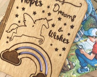 Personalised Wooden Hopes Dreams and Wishes Notepad Journal Personalized Name Unicorn Engraved Design Birthday Gift
