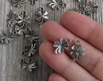 BULK 50 Four Leaf Clover Charms Antique Silver Tone SC225