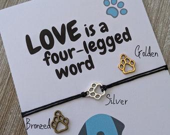 Pet Parent Gift, Dog Mom Gift, Pet Lovers Bracelet, Paw Print Wish Bracelet, Mothers Day Jewelry, Dog Jewelry Dog, Mom Jewelry, Dog Wish