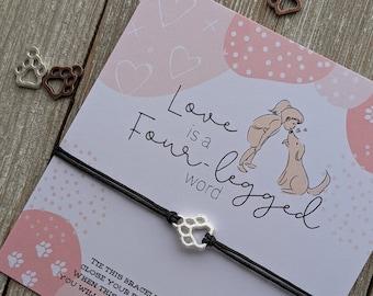 Valentine Paw Print Bracelet, Dog Mom Valentine Jewelry, Dog Dad, Pet Parent Valentine Gift, Cat Mom Jewelry, Dog Mom Gift, Valentines Pet