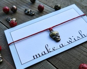 Skull Bracelet, Skull Jewelry, Skull Charm Bracelet, Halloween Bracelet, Halloween Jewelry, Skull Wish Bracelet, Skull Friendship Bracelet