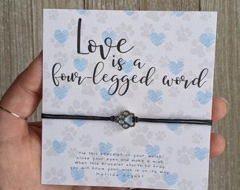 Vet Tech Week Gift, Paw print Bracelet, Pet Lover Bracelet, Paw Wish Bracelet, Cat Mom Gift, Dog Mom Gift, Veterinarian, Dog Walker, Groomer