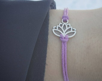 Lotus Bracelet, Stocking Stuffer, Lotus Party Favor, Lotus Jewelry, Yoga Jewelry, Lotus Friendship, Lotus Wish Bracelet, Lotus Flower Gift
