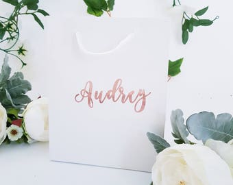 Medium  White  or Black Personalized Gift Bags
