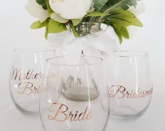 DIY Bridal Party Wine Glass Decal/Sticker - Bridal Party Decal or Personalized Names