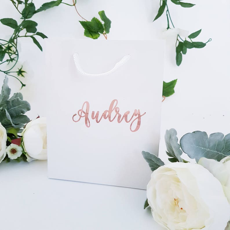 Medium White Personalized Gift Bags image 0