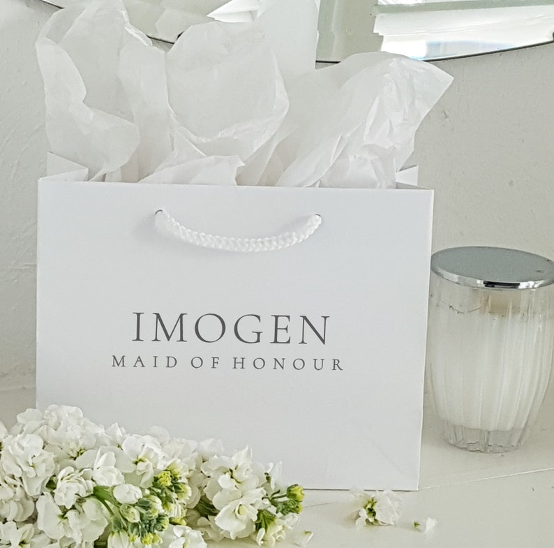 Large White or Black Personalized Gift Bags Bridesmaid gift image 0
