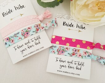 Wedding party favors, party favors Hair Ties/wrist bands - Bride Tribe