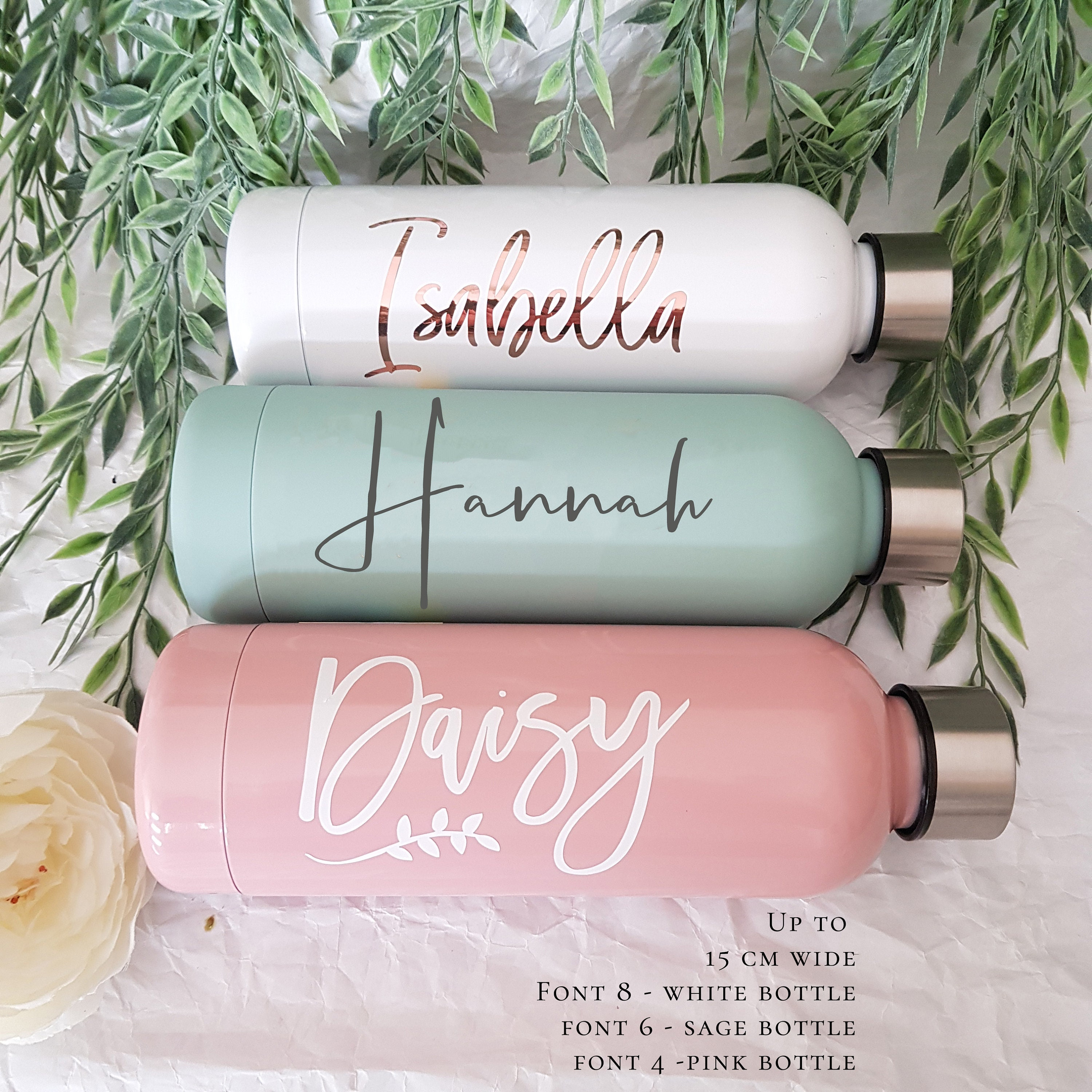 Personalised water bottle sticker vinyl Island Holiday Font Name DIY Love Label
