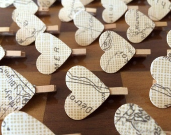 Vintage Map Heart Mini Wooden Pegs