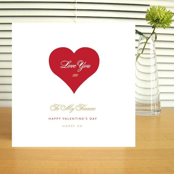 Personalised Fiancee Valentine's Card