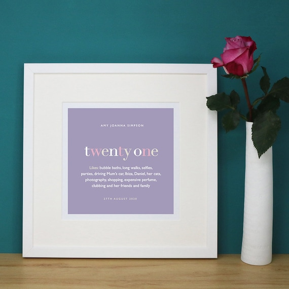 Personalised 21st Birthday Print with Mount (frame NOT included)