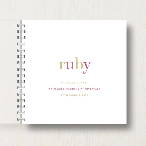 Personalised 40th Ruby Anniversary Memories Book or Album