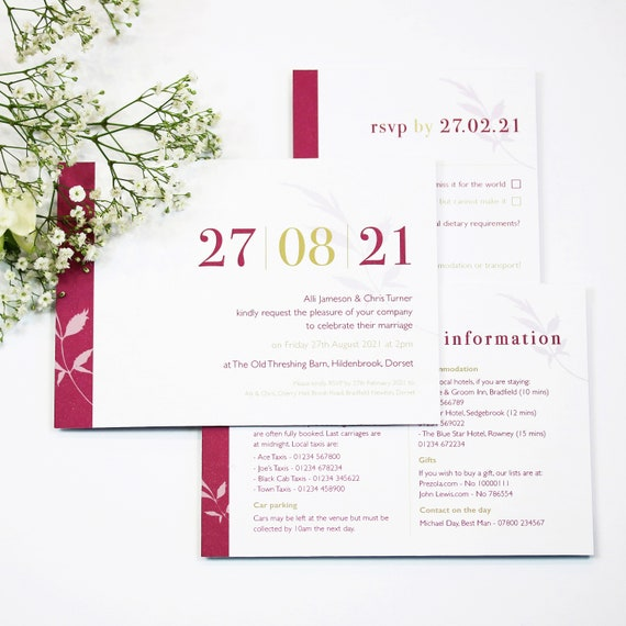 Date Floral Wedding Stationery Collection